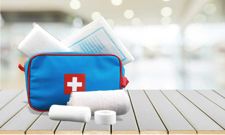 First aid bag with supplies