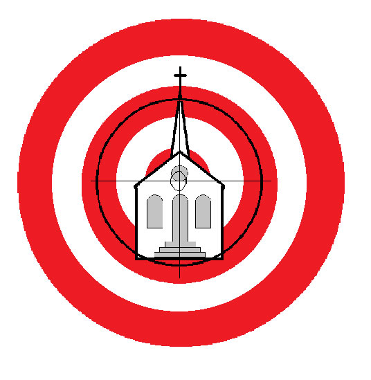 Church in a red target