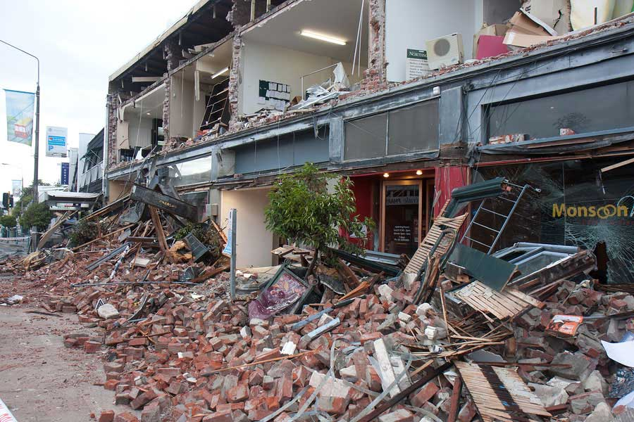 Building damaged by earthquake