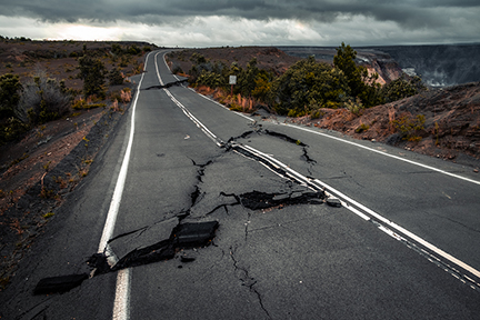 Crack in the road from earthquake