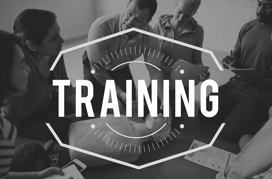 "Black and white image with the word ""Training"""